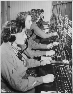 WAC telephone operators, 1945, National Archives