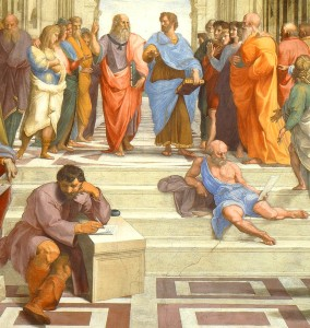 Notice how the 2 students in front are too busy texting each other to listen to the teacher? Plus ca change... [School of Athens (detail), Raphael, 1509]