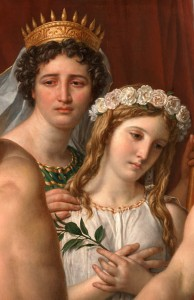 Clytemnestra leads her daughter Iphigenia to be sacrificed (Detail from Jacques-Louis David's The Anger of Achilles, 1819)